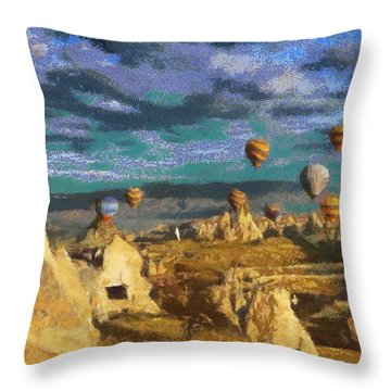 Cappadocia Ballons Fiesta Throw Pillow by Georgi Dimitrov
