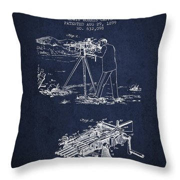 Capps Machine Gun Patent Drawing From 1899 - Navy Blue Throw Pillow by Aged Pixel