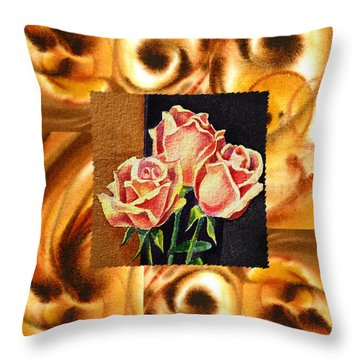 Cappuccino Abstract Collage French Roses Throw Pillow by Irina Sztukowski
