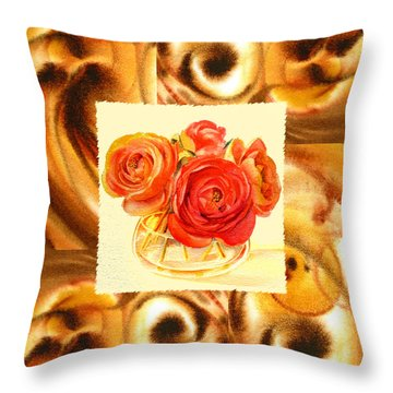 Cappuccino Abstract Collage Ranunculus   Throw Pillow