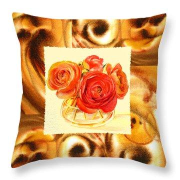 Cappuccino Abstract Collage Ranunculus   Throw Pillow by Irina Sztukowski