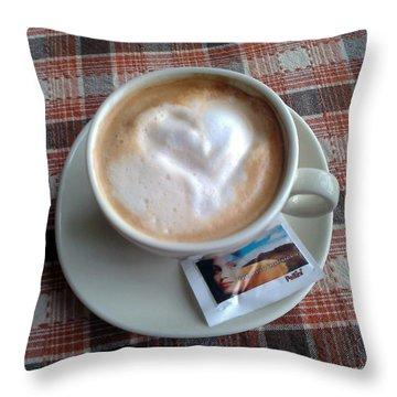 Cappuccino Love Throw Pillow by Ausra Huntington nee Paulauskaite