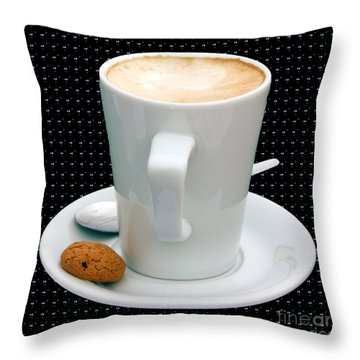 Cappuccino With An Amaretti Biscuit Throw Pillow by Terri Waters