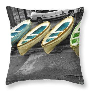 Capri Italy Aqua Green Boats Throw Pillow