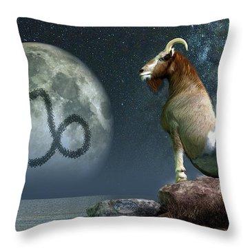 Capricorn Zodiac Symbol Throw Pillow by Daniel Eskridge