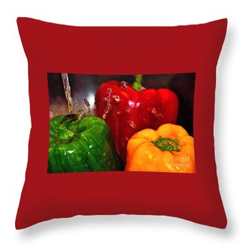 Capsicum In The Wash Throw Pillow by Kaye Menner
