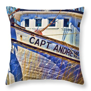 Capt Andrew Shrimper Throw Pillow