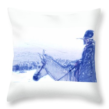Capt. Call In A Snowstorm Throw Pillow by Seth Weaver