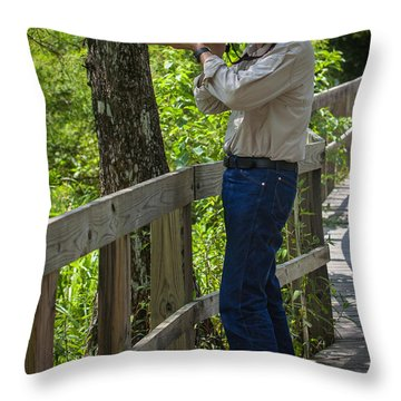 Capt. Daley At Martin Lake Throw Pillow