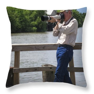Capt. Greg At Delcambre La Throw Pillow