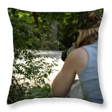 Capt. Kohm On Photo Shoot Throw Pillow