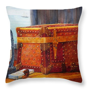 Throw Pillow featuring the painting Capt. Murray's Chest by Roger Rockefeller