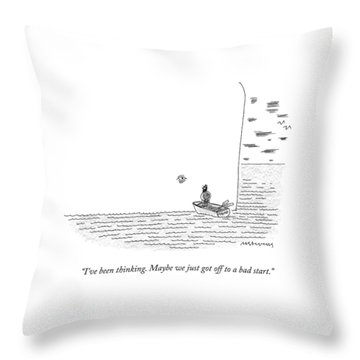 Captain Ahab Rows A Small Boat Right Up To Moby Throw Pillow