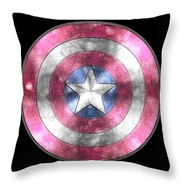 Captain America Shield Digital Painting Throw Pillow