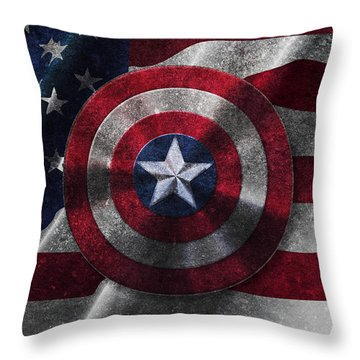 Captain America Shield On Usa Flag Throw Pillow