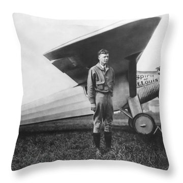 Captain Charles Lindbergh Throw Pillow by Underwood Archives