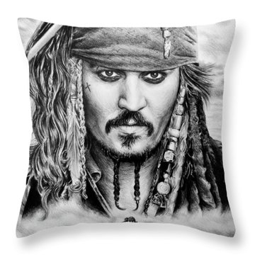 Captain Jack Sparrow 2 Throw Pillow by Andrew Read