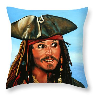 Captain Jack Sparrow Painting Throw Pillow by Paul Meijering