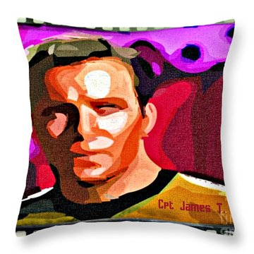 Captain James T Kirk Throw Pillow by John Malone