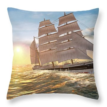 Captain Larry Paine Clippership Throw Pillow