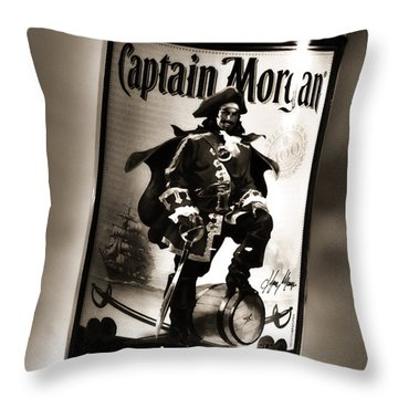 Captain Morgan Black And White Throw Pillow by Janie Johnson