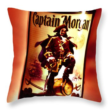 Captain Morgan Red Toned Throw Pillow by Janie Johnson