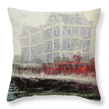Captains Manor In The Fog Throw Pillow by Michael Durst