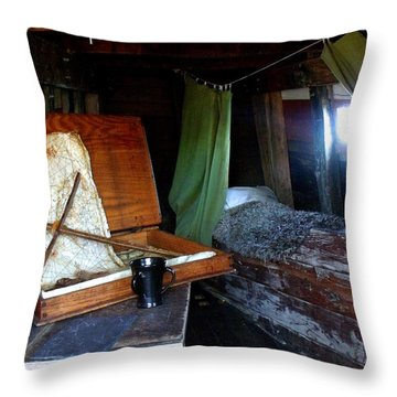 Captain's Quarters Aboard The Mayflower Throw Pillow