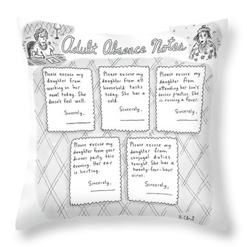 Captionless: Adult Absence Notes Throw Pillow