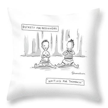 Captionless: Beckett For Beginners: Waiting Throw Pillow