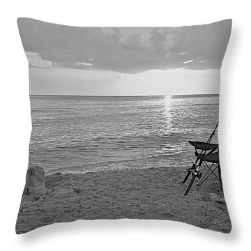 Captiva Sunset Black And White Throw Pillow by Carol  Bradley