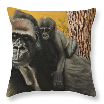 Throw Pillow featuring the painting Captured Bernigie by Jeanne Fischer