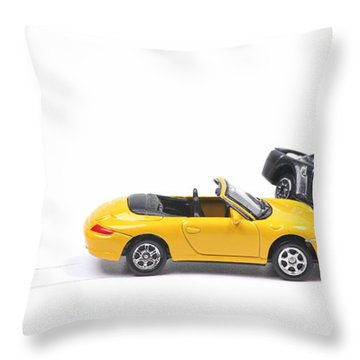 Car Crash Between Sportscar And Sedan Throw Pillow