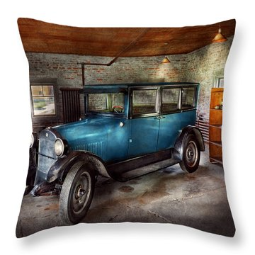 Car - Granpa's Garage  Throw Pillow by Mike Savad