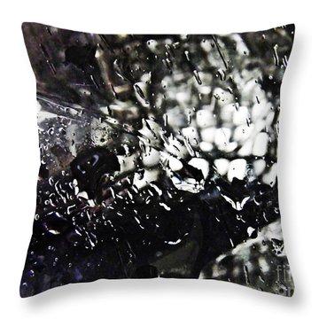 Car Light In The Rain Throw Pillow by Sarah Loft