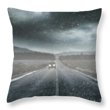 Car On Rural Road In Early Winter Throw Pillow by Sandra Cunningham