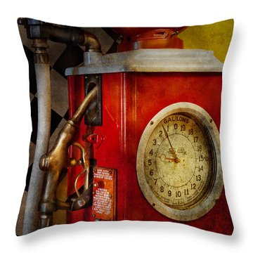 Car - Station - 19 Gallons  Throw Pillow by Mike Savad