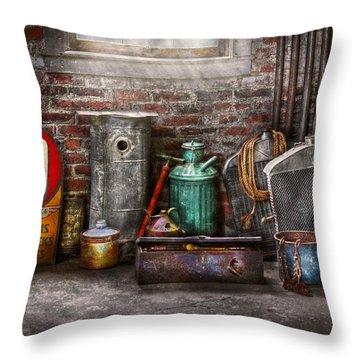 Car - Station - I Fix Cars  Throw Pillow by Mike Savad