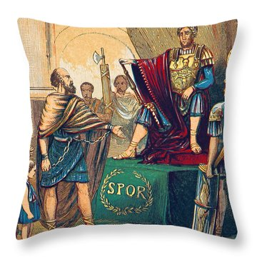 Throw Pillow featuring the photograph Caractacus Before Emperor Claudius, 1st by British Library