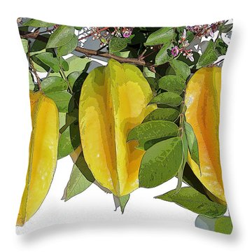Carambolas Starfruit Three Up Throw Pillow by Olivia Novak