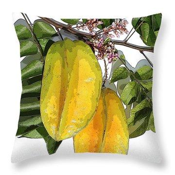 Carambolas Starfruit Two Up Throw Pillow by Olivia Novak