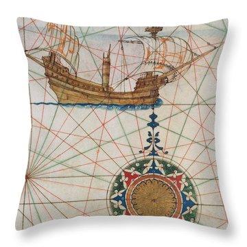 Caravel In Ocean Throw Pillow