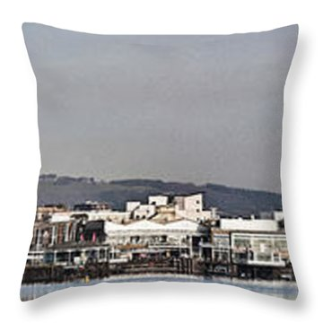 Cardiff Bay Panorama 2 Throw Pillow by Steve Purnell