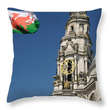 Cardiff City Hall Throw Pillow by Jeremy Voisey