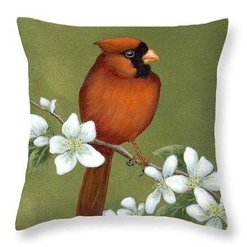 Cardinal And Dogwood Throw Pillow