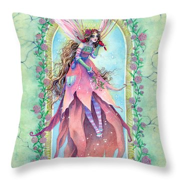 Cardinal Fairy Throw Pillow by Sara Burrier