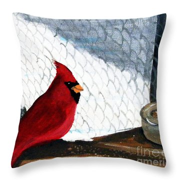Cardinal In The Dogpound Throw Pillow by Barbara Griffin