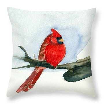 Cardinal Throw Pillow by Katherine Miller