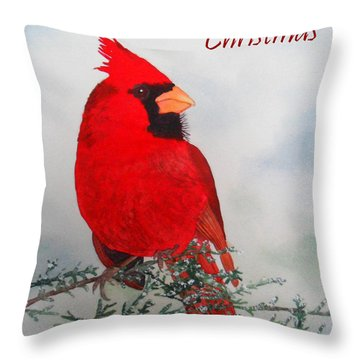 Cardinal Merry Christmas Throw Pillow