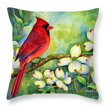Cardinal On Dogwood Throw Pillow